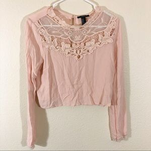 F21 pink cropped long sleeve lace top